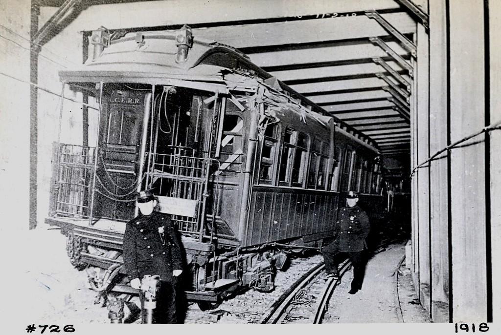 (225k, 1024x686)<br><b>Country:</b> United States<br><b>City:</b> New York<br><b>System:</b> New York City Transit<br><b>Line:</b> BMT Franklin Shuttle<br><b>Location:</b> Empire Blvd. (Malbone St.) Tunnel Portal<br><b>Car:</b> BMT Elevated Gate Car 726 <br><b>Collection of:</b> George Conrad Collection<br><b>Date:</b> 11/2/1918<br><b>Notes:</b> Head car in Malbone St. wreck.<br><b>Viewed (this week/total):</b> 12 / 5993