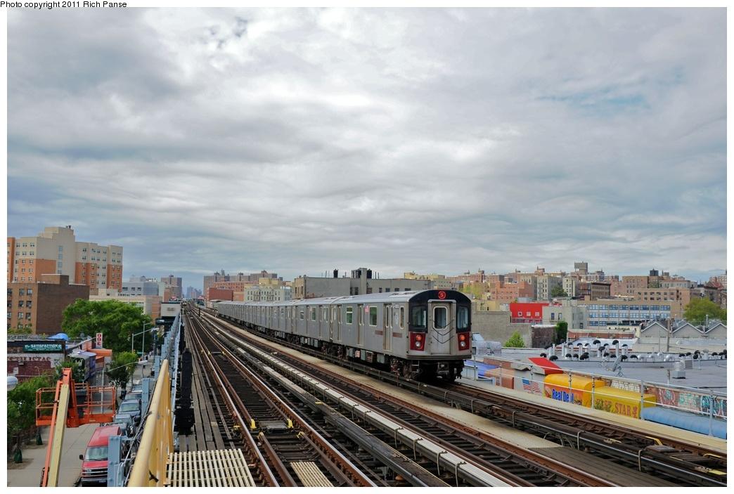 (254k, 1044x703)<br><b>Country:</b> United States<br><b>City:</b> New York<br><b>System:</b> New York City Transit<br><b>Line:</b> IRT White Plains Road Line<br><b>Location:</b> Simpson Street<br><b>Route:</b> 5<br><b>Car:</b> R-142 or R-142A (Number Unknown)  <br><b>Photo by:</b> Richard Panse<br><b>Date:</b> 9/11/2011<br><b>Viewed (this week/total):</b> 0 / 1795