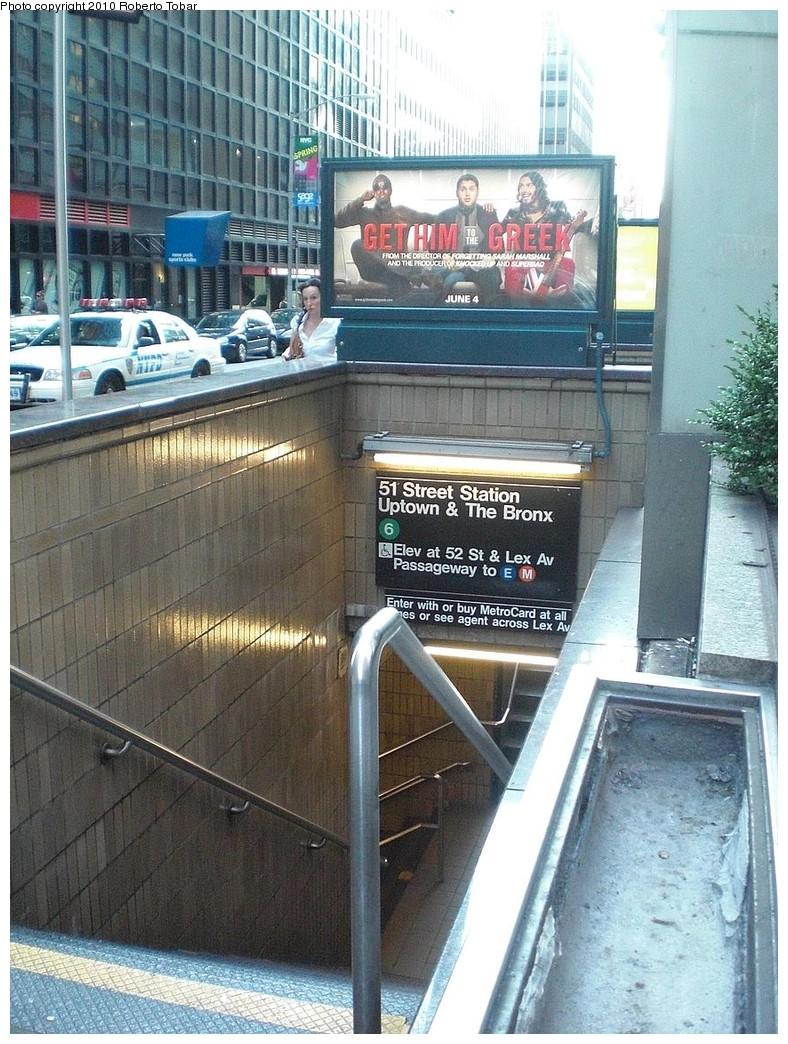 (301k, 788x1044)<br><b>Country:</b> United States<br><b>City:</b> New York<br><b>System:</b> New York City Transit<br><b>Line:</b> IRT East Side Line<br><b>Location:</b> 51st Street<br><b>Photo by:</b> Roberto C. Tobar<br><b>Date:</b> 6/25/2010<br><b>Notes:</b> Station entrance.<br><b>Viewed (this week/total):</b> 3 / 1839