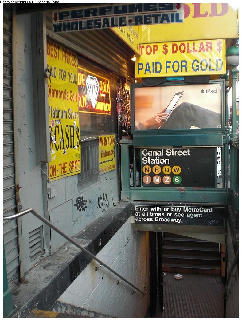 (280k, 788x1044)<br><b>Country:</b> United States<br><b>City:</b> New York<br><b>System:</b> New York City Transit<br><b>Line:</b> BMT Broadway Line<br><b>Location:</b> Canal Street<br><b>Photo by:</b> Roberto C. Tobar<br><b>Date:</b> 5/5/2010<br><b>Notes:</b> Station entrance.<br><b>Viewed (this week/total):</b> 0 / 1865