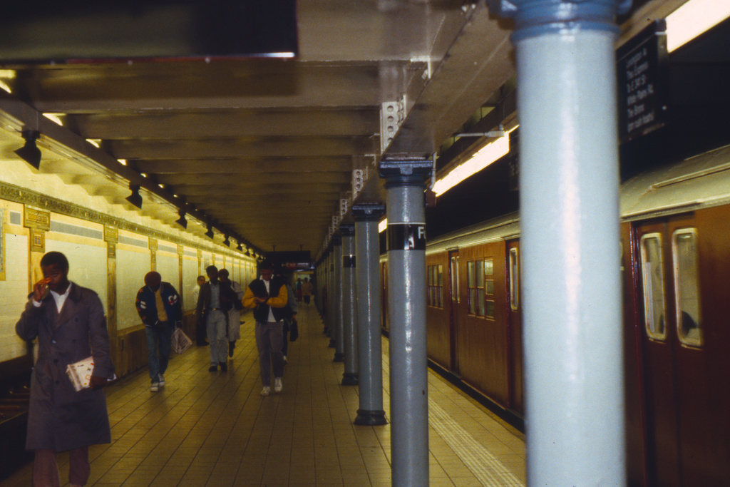 (334k, 1024x683)<br><b>Country:</b> United States<br><b>City:</b> New York<br><b>System:</b> New York City Transit<br><b>Line:</b> IRT East Side Line<br><b>Location:</b> Fulton Street<br><b>Collection of:</b> Collection of nycsubway.org<br><b>Notes:</b> 1980s<br><b>Viewed (this week/total):</b> 2 / 4548