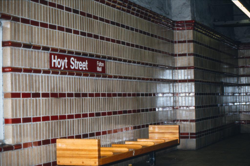 (427k, 1024x683)<br><b>Country:</b> United States<br><b>City:</b> New York<br><b>System:</b> New York City Transit<br><b>Line:</b> IRT Brooklyn Line<br><b>Location:</b> Hoyt Street<br><b>Collection of:</b> Collection of nycsubway.org<br><b>Notes:</b> 1980s<br><b>Viewed (this week/total):</b> 0 / 2609