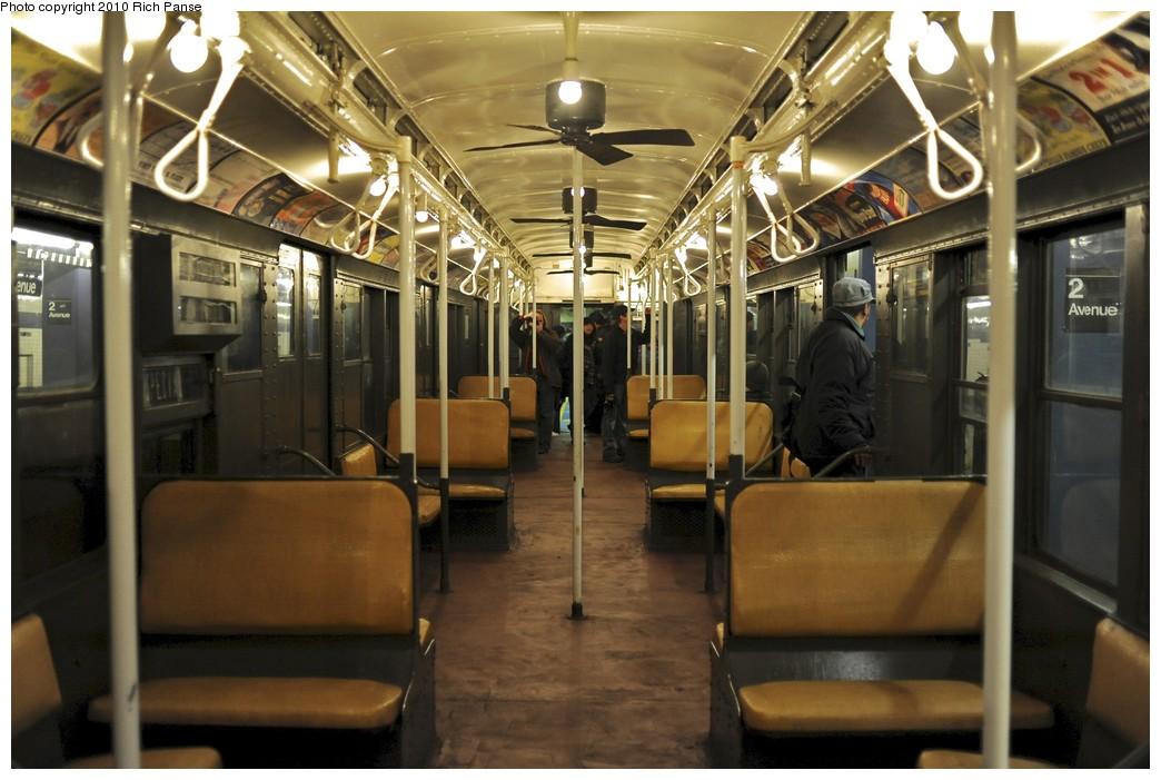 (175k, 1044x701)<br><b>Country:</b> United States<br><b>City:</b> New York<br><b>System:</b> New York City Transit<br><b>Route:</b> Fan Trip<br><b>Car:</b> R-1 (American Car & Foundry, 1930-1931) 100 <br><b>Photo by:</b> Richard Panse<br><b>Date:</b> 12/5/2010<br><b>Notes:</b> Nostalgia train- Sunday Shoppers Special<br><b>Viewed (this week/total):</b> 1 / 2866