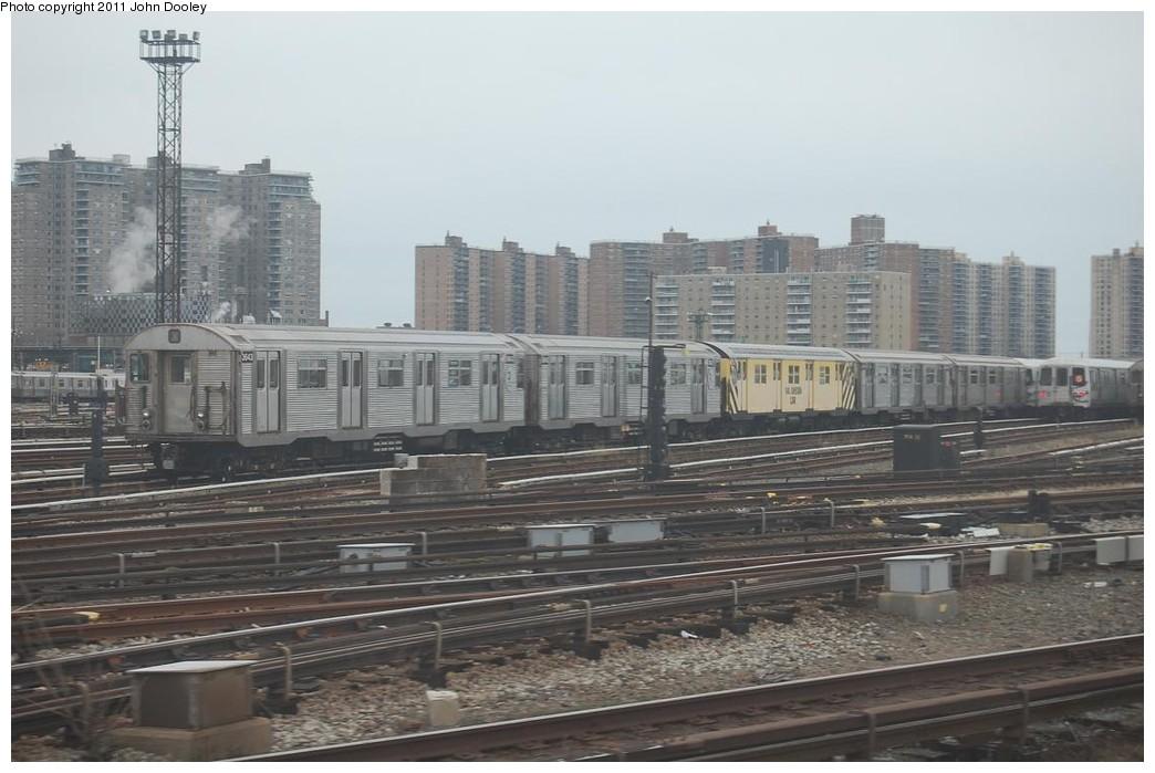 (201k, 1044x699)<br><b>Country:</b> United States<br><b>City:</b> New York<br><b>System:</b> New York City Transit<br><b>Location:</b> Coney Island Yard<br><b>Car:</b> R-32 (Budd, 1964) 3643 <br><b>Photo by:</b> John Dooley<br><b>Date:</b> 12/10/2010<br><b>Notes:</b> Rail adhesion train.<br><b>Viewed (this week/total):</b> 1 / 1481