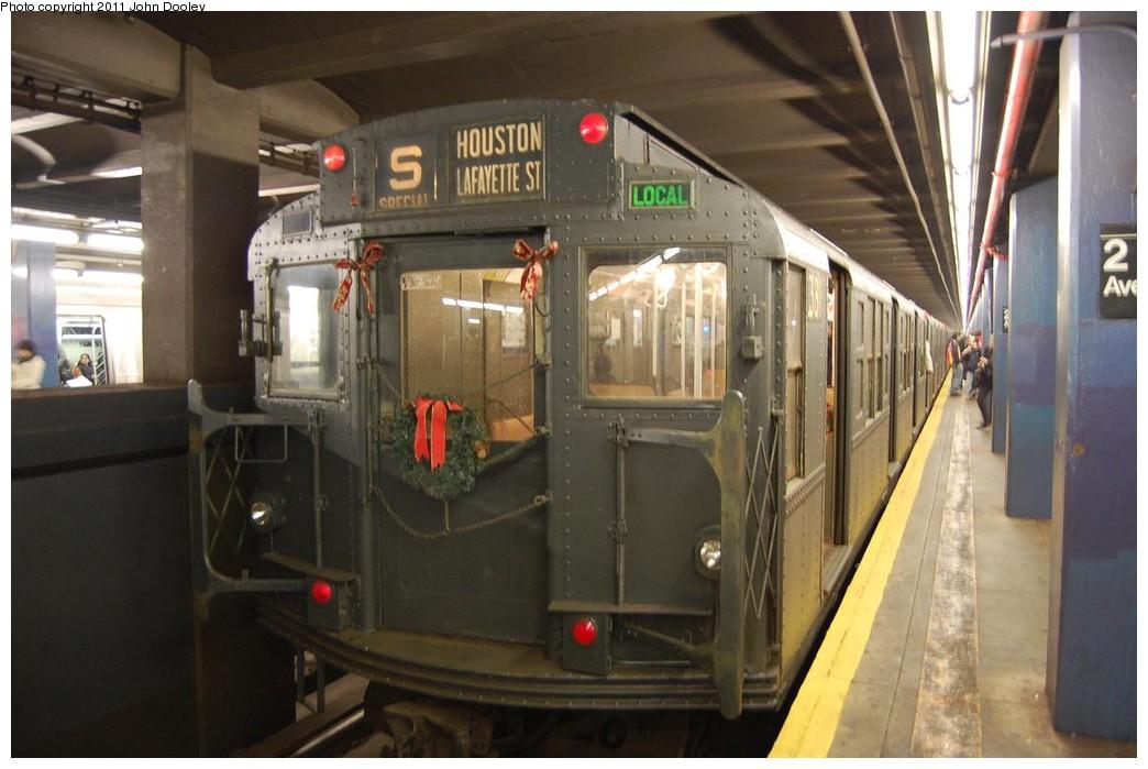 (193k, 1044x699)<br><b>Country:</b> United States<br><b>City:</b> New York<br><b>System:</b> New York City Transit<br><b>Line:</b> IND 6th Avenue Line<br><b>Location:</b> 2nd Avenue<br><b>Route:</b> Museum Train Service<br><b>Car:</b> R-1 (American Car & Foundry, 1930-1931) 381 <br><b>Photo by:</b> John Dooley<br><b>Date:</b> 12/26/2010<br><b>Viewed (this week/total):</b> 1 / 1589