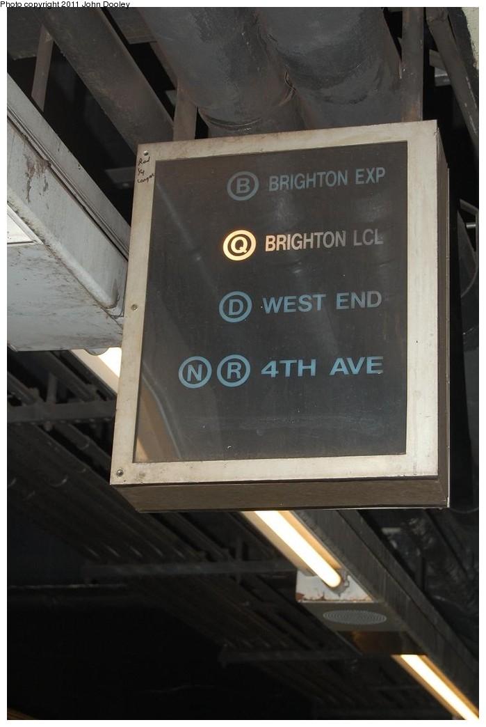 (163k, 699x1044)<br><b>Country:</b> United States<br><b>City:</b> New York<br><b>System:</b> New York City Transit<br><b>Line:</b> BMT 4th Avenue Line<br><b>Location:</b> DeKalb Avenue<br><b>Photo by:</b> John Dooley<br><b>Date:</b> 12/26/2010<br><b>Notes:</b> Train route sign.<br><b>Viewed (this week/total):</b> 0 / 3019