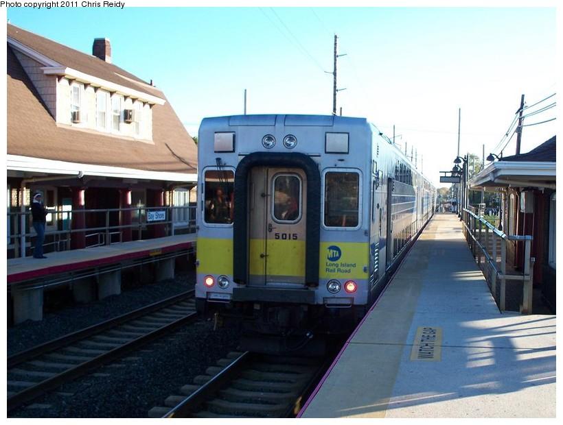 (133k, 820x620)<br><b>Country:</b> United States<br><b>System:</b> Long Island Rail Road<br><b>Line:</b> LIRR Montauk<br><b>Location:</b> Bay Shore<br><b>Car:</b> LIRR Kawasaki C-3/C-R (Bilevel Coach/Cab) 5015 <br><b>Photo by:</b> Chris Reidy<br><b>Date:</b> 10/14/2010<br><b>Viewed (this week/total):</b> 2 / 1232