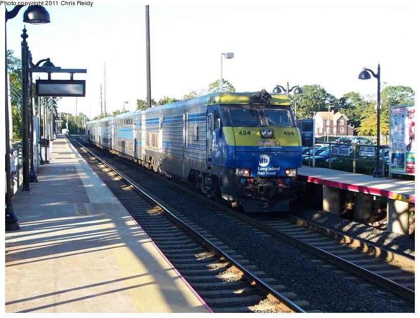 (177k, 820x620)<br><b>Country:</b> United States<br><b>System:</b> Long Island Rail Road<br><b>Line:</b> LIRR Montauk<br><b>Location:</b> Bay Shore<br><b>Car:</b> LIRR GM DE30AC (Diesel) 404 <br><b>Photo by:</b> Chris Reidy<br><b>Date:</b> 10/14/2010<br><b>Viewed (this week/total):</b> 0 / 1363