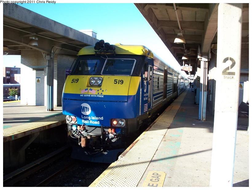 (149k, 820x620)<br><b>Country:</b> United States<br><b>System:</b> Long Island Rail Road<br><b>Line:</b> LIRR Babylon<br><b>Location:</b> Babylon<br><b>Car:</b> LIRR GM DM30AC (Dual Mode) 519 <br><b>Photo by:</b> Chris Reidy<br><b>Date:</b> 10/14/2010<br><b>Viewed (this week/total):</b> 0 / 829