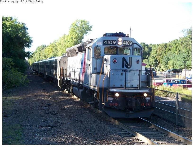 (176k, 820x620)<br><b>Country:</b> United States<br><b>System:</b> NJ Transit (or Predecessor)<br><b>Line:</b> NJT Main/Bergen Line<br><b>Location:</b> Ramsey<br><b>Car:</b> NJT GP40PH-2 4109 <br><b>Photo by:</b> Chris Reidy<br><b>Date:</b> 9/15/2010<br><b>Viewed (this week/total):</b> 0 / 771