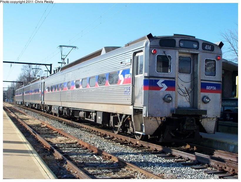 (180k, 820x619)<br><b>Country:</b> United States<br><b>City:</b> Philadelphia, PA<br><b>System:</b> SEPTA Regional Rail<br><b>Line:</b> SEPTA R5<br><b>Location:</b> Doylestown<br><b>Car:</b> SEPTA Silverliner IV (GE, 1974-75) 414 <br><b>Photo by:</b> Chris Reidy<br><b>Date:</b> 11/29/2010<br><b>Viewed (this week/total):</b> 2 / 1052