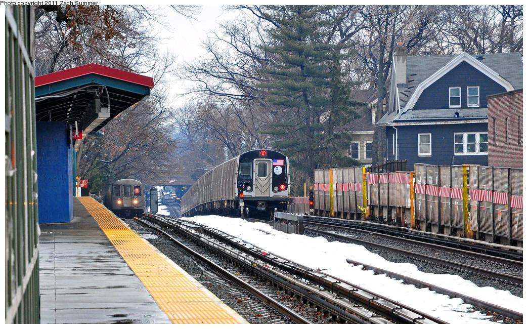 (377k, 1044x650)<br><b>Country:</b> United States<br><b>City:</b> New York<br><b>System:</b> New York City Transit<br><b>Line:</b> BMT Brighton Line<br><b>Location:</b> Avenue H<br><b>Route:</b> B<br><b>Car:</b> R-68 (Westinghouse-Amrail, 1986-1988) 2854 <br><b>Photo by:</b> Zach Summer<br><b>Date:</b> 1/7/2011<br><b>Notes:</b> With R160B 8998 On the Q<br><b>Viewed (this week/total):</b> 0 / 1662