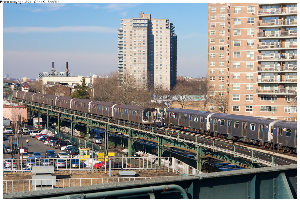 (325k, 1044x703)<br><b>Country:</b> United States<br><b>City:</b> New York<br><b>System:</b> New York City Transit<br><b>Line:</b> BMT Culver Line<br><b>Location:</b> West 8th Street<br><b>Route:</b> F<br><b>Car:</b> R-160A (Option 1) (Alstom, 2008-2009, 5 car sets) 9518 <br><b>Photo by:</b> Chris C. Shaffer<br><b>Date:</b> 2/11/2011<br><b>Notes:</b> With R-160B (Option 2) (Kawasaki, 2009) 9862 / 9861<br><b>Viewed (this week/total):</b> 2 / 1681