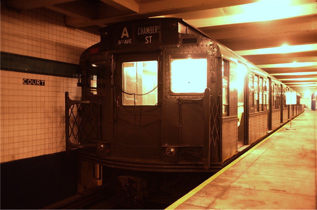 (154k, 1024x680)<br><b>Country:</b> United States<br><b>City:</b> New York<br><b>System:</b> New York City Transit<br><b>Location:</b> New York Transit Museum<br><b>Car:</b> R-1 (American Car & Foundry, 1930-1931) 100 <br><b>Photo by:</b> Doug Grotjahn<br><b>Collection of:</b> Joe Testagrose<br><b>Date:</b> 8/14/1976<br><b>Viewed (this week/total):</b> 1 / 1791