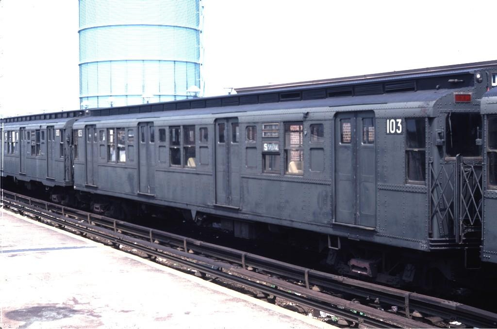 (146k, 1024x677)<br><b>Country:</b> United States<br><b>City:</b> New York<br><b>System:</b> New York City Transit<br><b>Location:</b> Coney Island/Stillwell Avenue<br><b>Route:</b> S<br><b>Car:</b> R-1 (American Car & Foundry, 1930-1931) 103 <br><b>Photo by:</b> Doug Grotjahn<br><b>Collection of:</b> Joe Testagrose<br><b>Date:</b> 8/26/1979<br><b>Viewed (this week/total):</b> 3 / 3137