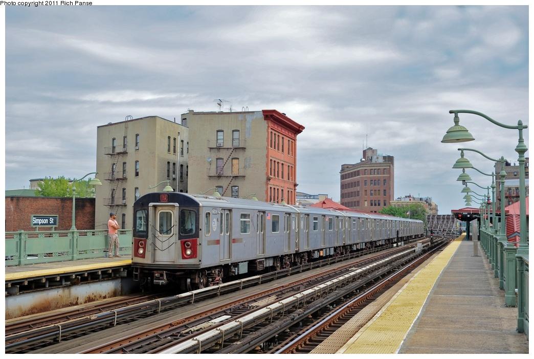 (264k, 1044x702)<br><b>Country:</b> United States<br><b>City:</b> New York<br><b>System:</b> New York City Transit<br><b>Line:</b> IRT White Plains Road Line<br><b>Location:</b> Simpson Street<br><b>Route:</b> 5<br><b>Car:</b> R-142 (Primary Order, Bombardier, 1999-2002) 6836 <br><b>Photo by:</b> Richard Panse<br><b>Date:</b> 9/11/2011<br><b>Viewed (this week/total):</b> 0 / 1737