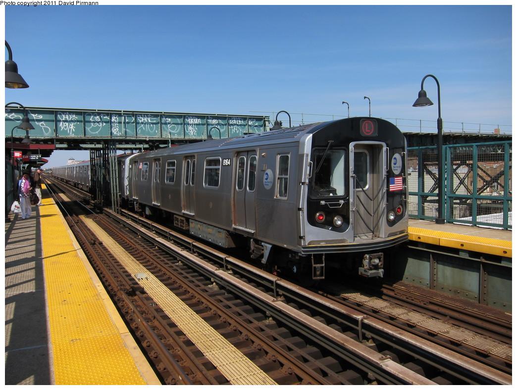 (255k, 1044x788)<br><b>Country:</b> United States<br><b>City:</b> New York<br><b>System:</b> New York City Transit<br><b>Line:</b> BMT Canarsie Line<br><b>Location:</b> Livonia Avenue<br><b>Route:</b> L<br><b>Car:</b> R-143 (Kawasaki, 2001-2002) 8164 <br><b>Photo by:</b> David Pirmann<br><b>Date:</b> 4/9/2011<br><b>Viewed (this week/total):</b> 1 / 1458