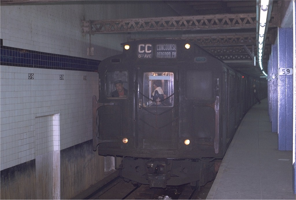 (178k, 1024x693)<br><b>Country:</b> United States<br><b>City:</b> New York<br><b>System:</b> New York City Transit<br><b>Line:</b> IND 8th Avenue Line<br><b>Location:</b> 59th Street/Columbus Circle<br><b>Route:</b> CC<br><b>Car:</b> R-4 (American Car & Foundry, 1932-1933) 785 <br><b>Photo by:</b> Joe Testagrose<br><b>Date:</b> 11/27/1970<br><b>Viewed (this week/total):</b> 1 / 2213