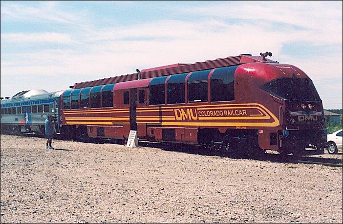 (101k, 702x458)<br><b>Country:</b> United States<br><b>City:</b> Dallas, TX<br><b>System:</b> Trinity Railway Express<br><b>Location:</b> Frisco, TX.<br><b>Photo by:</b> Jim Cumbie<br><b>Date:</b> 9/7/2003<br><b>Notes:</b> Frisco, Texas: Denver Rail Car and two TRE RDCs toured North Texas towns to drum up support for a regional transit authority.<br><b>Viewed (this week/total):</b> 1 / 4365