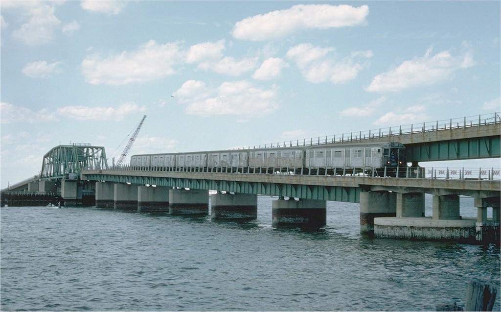 (159k, 1024x637)<br><b>Country:</b> United States<br><b>City:</b> New York<br><b>System:</b> New York City Transit<br><b>Line:</b> IND Rockaway Line<br><b>Location:</b> South Channel Bridge<br><b>Car:</b> R-32 (Budd, 1964) 3434 <br><b>Photo by:</b> Ed McKernan<br><b>Collection of:</b> Joe Testagrose<br><b>Date:</b> 6/19/1977<br><b>Viewed (this week/total):</b> 0 / 4437