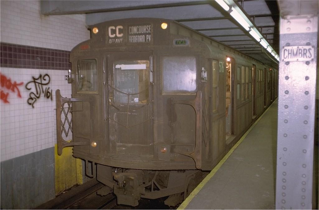 (153k, 1024x673)<br><b>Country:</b> United States<br><b>City:</b> New York<br><b>System:</b> New York City Transit<br><b>Line:</b> IND 8th Avenue Line<br><b>Location:</b> Chambers Street/World Trade Center<br><b>Route:</b> CC<br><b>Car:</b> R-1 (American Car & Foundry, 1930-1931) 576 (ex-369)<br><b>Photo by:</b> Doug Grotjahn<br><b>Collection of:</b> Joe Testagrose<br><b>Date:</b> 11/22/1972<br><b>Viewed (this week/total):</b> 4 / 4404