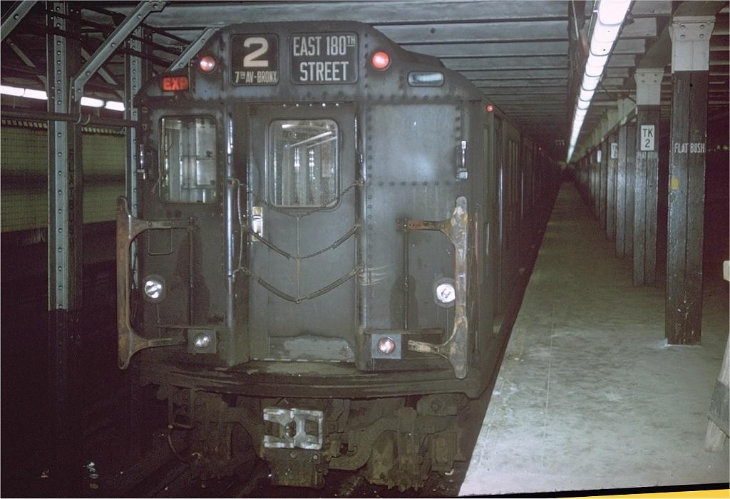 (197k, 1024x700)<br><b>Country:</b> United States<br><b>City:</b> New York<br><b>System:</b> New York City Transit<br><b>Line:</b> IRT Brooklyn Line<br><b>Location:</b> Flatbush Avenue<br><b>Route:</b> 2<br><b>Car:</b> R-14 (American Car & Foundry, 1949) 5848 <br><b>Photo by:</b> Joe Testagrose<br><b>Date:</b> 1/1/1964<br><b>Viewed (this week/total):</b> 0 / 6817