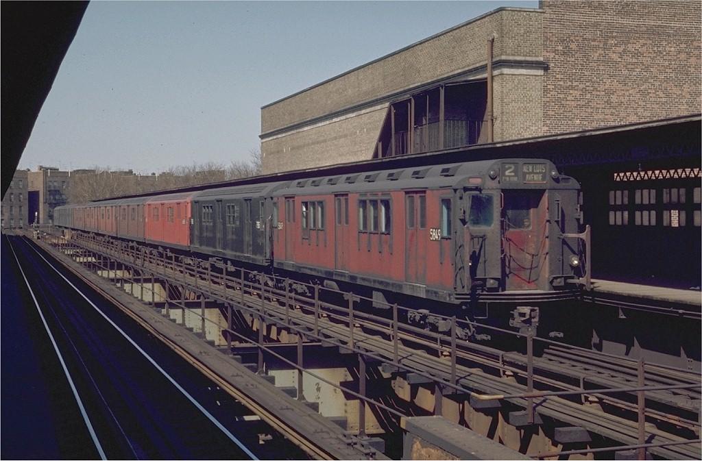 (200k, 1024x673)<br><b>Country:</b> United States<br><b>City:</b> New York<br><b>System:</b> New York City Transit<br><b>Line:</b> IRT Brooklyn Line<br><b>Location:</b> Saratoga Avenue<br><b>Route:</b> 2<br><b>Car:</b> R-14 (American Car & Foundry, 1949) 5849 <br><b>Photo by:</b> Joe Testagrose<br><b>Date:</b> 4/25/1970<br><b>Viewed (this week/total):</b> 0 / 5696