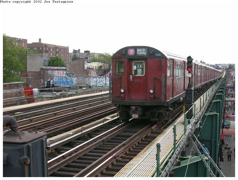 (135k, 820x620)<br><b>Country:</b> United States<br><b>City:</b> New York<br><b>System:</b> New York City Transit<br><b>Line:</b> IRT Flushing Line<br><b>Location:</b> 82nd Street/Jackson Heights<br><b>Route:</b> 7<br><b>Car:</b> R-36 World's Fair (St. Louis, 1963-64) 9446 <br><b>Photo by:</b> Joe Testagrose<br><b>Date:</b> 6/4/2002<br><b>Viewed (this week/total):</b> 0 / 3962