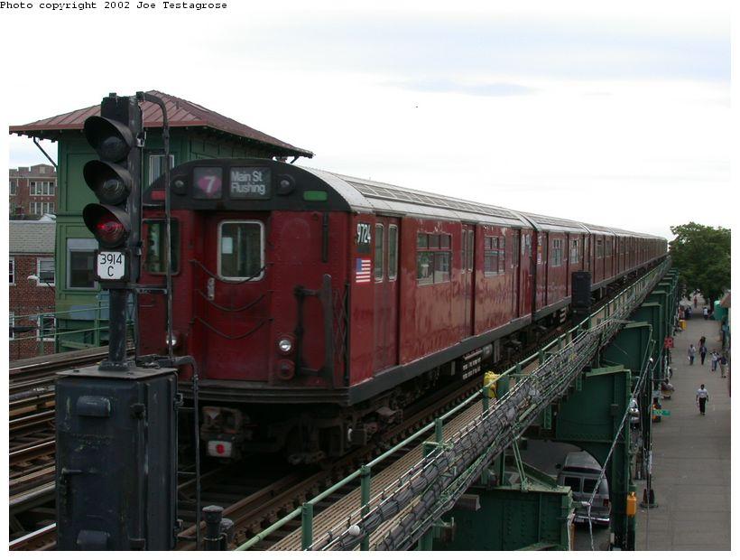 (109k, 820x620)<br><b>Country:</b> United States<br><b>City:</b> New York<br><b>System:</b> New York City Transit<br><b>Line:</b> IRT Flushing Line<br><b>Location:</b> 103rd Street/Corona Plaza<br><b>Route:</b> 7<br><b>Car:</b> R-36 World's Fair (St. Louis, 1963-64) 9724 <br><b>Photo by:</b> Joe Testagrose<br><b>Date:</b> 6/4/2002<br><b>Viewed (this week/total):</b> 1 / 4546