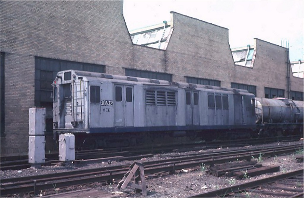 (149k, 1024x666)<br><b>Country:</b> United States<br><b>City:</b> New York<br><b>System:</b> New York City Transit<br><b>Location:</b> Coney Island Yard<br><b>Car:</b> Station Wash Train (R-12 Rebuilds) 30632 (ex-5711)<br><b>Photo by:</b> Steve Zabel<br><b>Collection of:</b> Joe Testagrose<br><b>Date:</b> 7/16/1974<br><b>Viewed (this week/total):</b> 5 / 9121