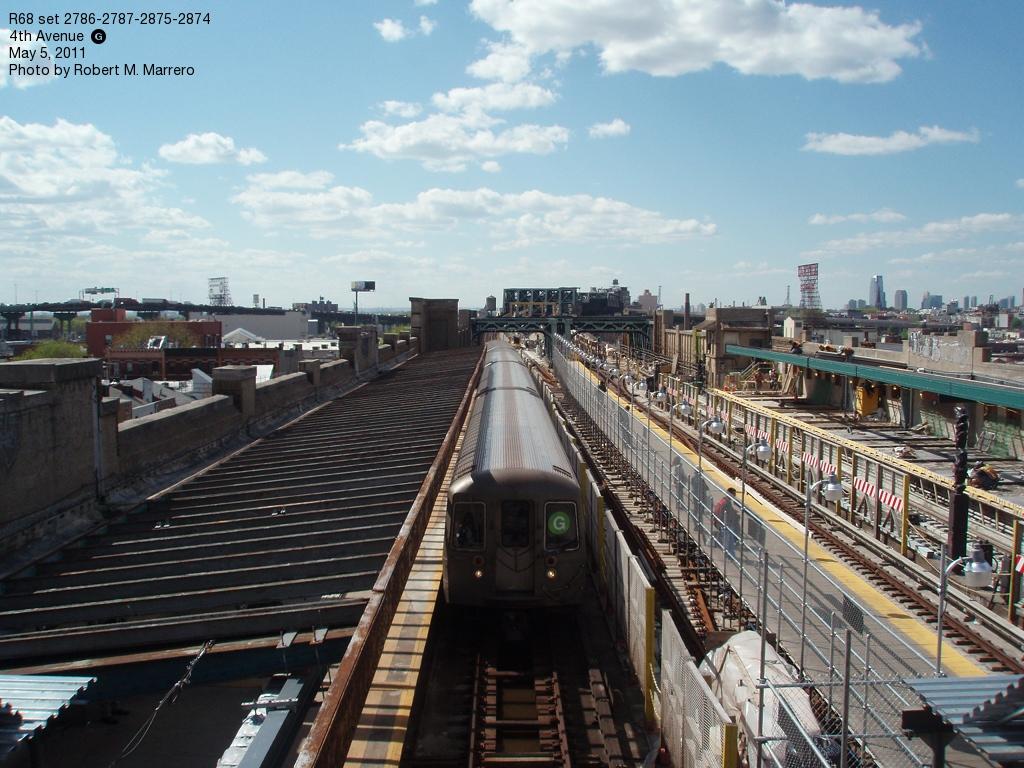 (389k, 1024x768)<br><b>Country:</b> United States<br><b>City:</b> New York<br><b>System:</b> New York City Transit<br><b>Line:</b> IND Crosstown Line<br><b>Location:</b> 4th Avenue<br><b>Route:</b> G<br><b>Car:</b> R-68 (Westinghouse-Amrail, 1986-1988) 2786 <br><b>Photo by:</b> Robert Marrero<br><b>Date:</b> 5/5/2011<br><b>Viewed (this week/total):</b> 1 / 2391