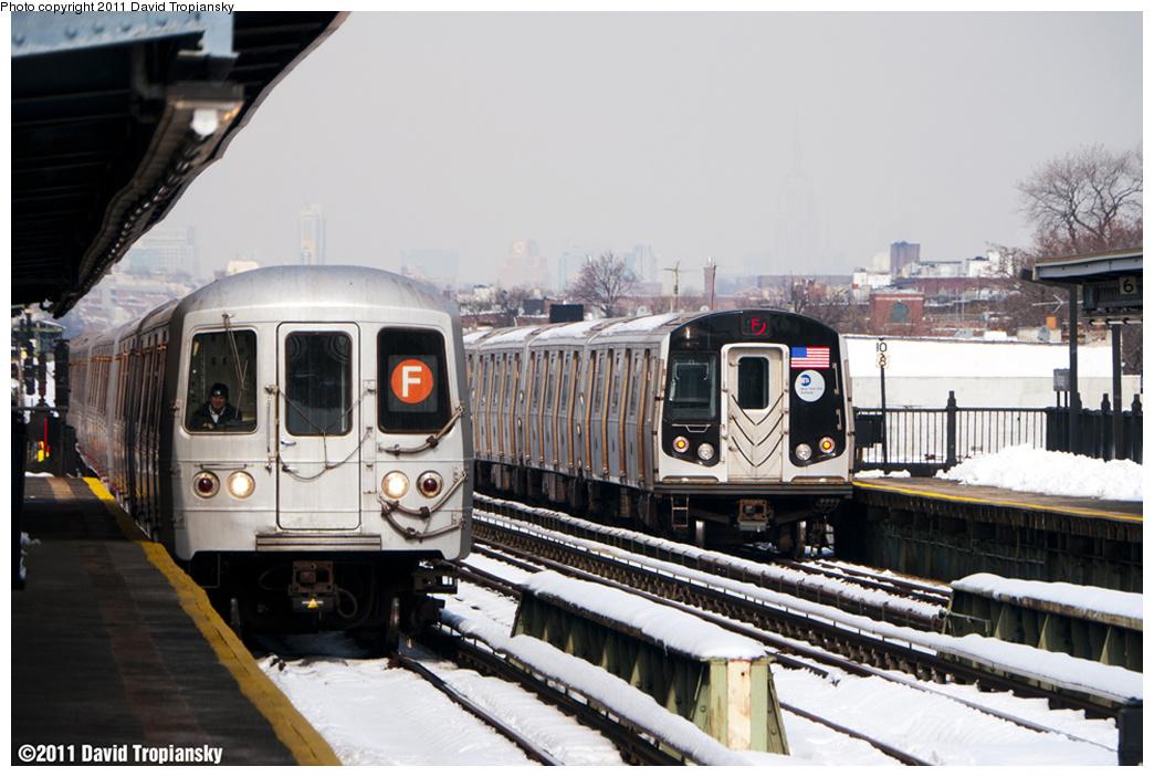 (337k, 1044x703)<br><b>Country:</b> United States<br><b>City:</b> New York<br><b>System:</b> New York City Transit<br><b>Line:</b> BMT Culver Line<br><b>Location:</b> Bay Parkway (22nd Avenue)<br><b>Route:</b> F<br><b>Car:</b> R-46 (Pullman-Standard, 1974-75) 5726 <br><b>Photo by:</b> David Tropiansky<br><b>Date:</b> 1/28/2011<br><b>Viewed (this week/total):</b> 1 / 1574