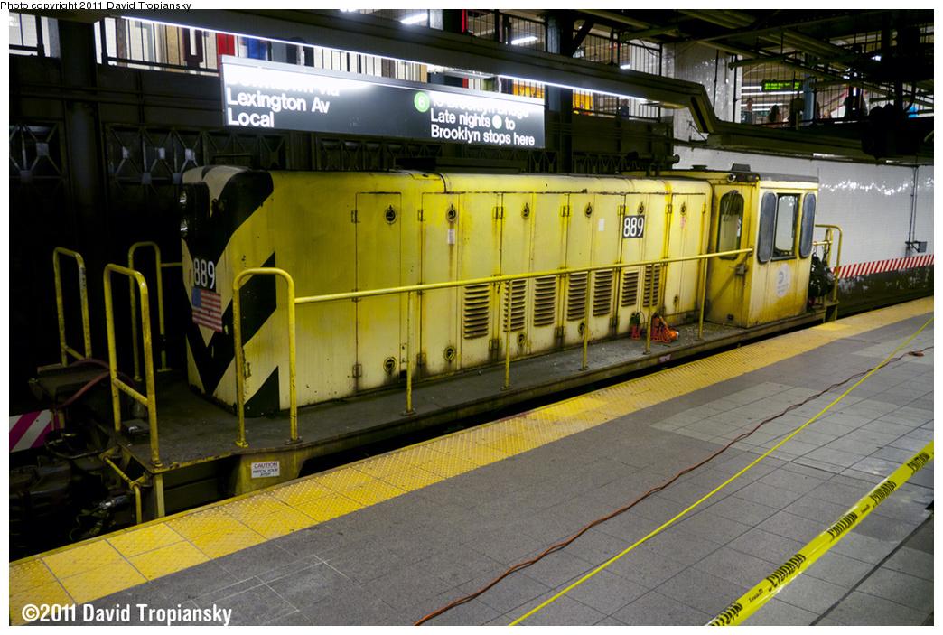 (409k, 1044x703)<br><b>Country:</b> United States<br><b>City:</b> New York<br><b>System:</b> New York City Transit<br><b>Line:</b> IRT East Side Line<br><b>Location:</b> 14th Street/Union Square<br><b>Route:</b> Work Service<br><b>Car:</b> R-77 Locomotive 889 <br><b>Photo by:</b> David Tropiansky<br><b>Date:</b> 5/21/2011<br><b>Viewed (this week/total):</b> 2 / 1822