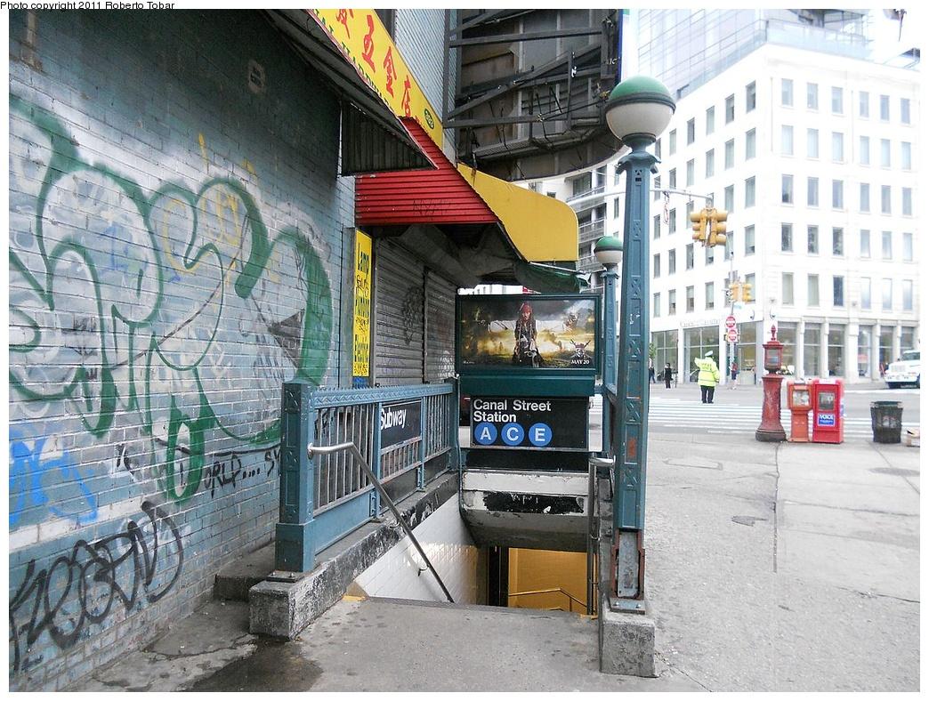 (429k, 1044x788)<br><b>Country:</b> United States<br><b>City:</b> New York<br><b>System:</b> New York City Transit<br><b>Line:</b> IND 8th Avenue Line<br><b>Location:</b> Canal Street-Holland Tunnel<br><b>Photo by:</b> Roberto C. Tobar<br><b>Date:</b> 5/4/2011<br><b>Notes:</b> Station entrance.<br><b>Viewed (this week/total):</b> 0 / 1685