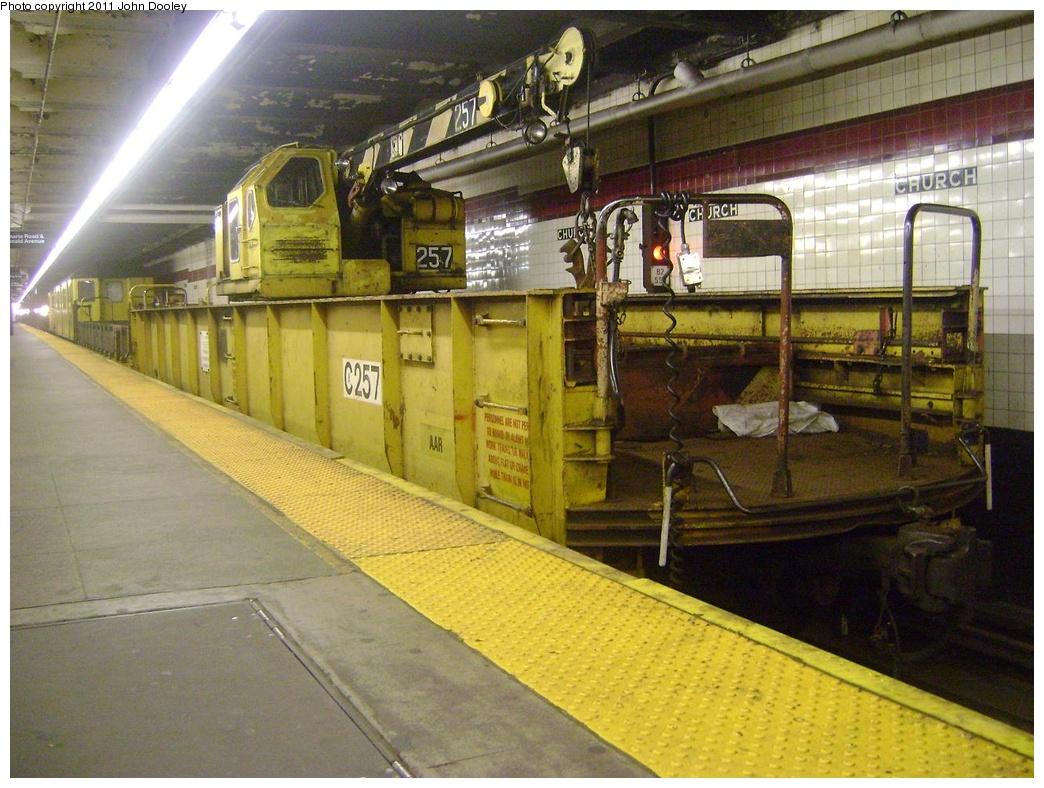 (342k, 1044x788)<br><b>Country:</b> United States<br><b>City:</b> New York<br><b>System:</b> New York City Transit<br><b>Line:</b> IND Crosstown Line<br><b>Location:</b> Church Avenue<br><b>Route:</b> Work Service<br><b>Car:</b> R-73 Telescoping Boom Crane (Fuji, 1984) 257 <br><b>Photo by:</b> John Dooley<br><b>Date:</b> 5/5/2011<br><b>Viewed (this week/total):</b> 1 / 1452