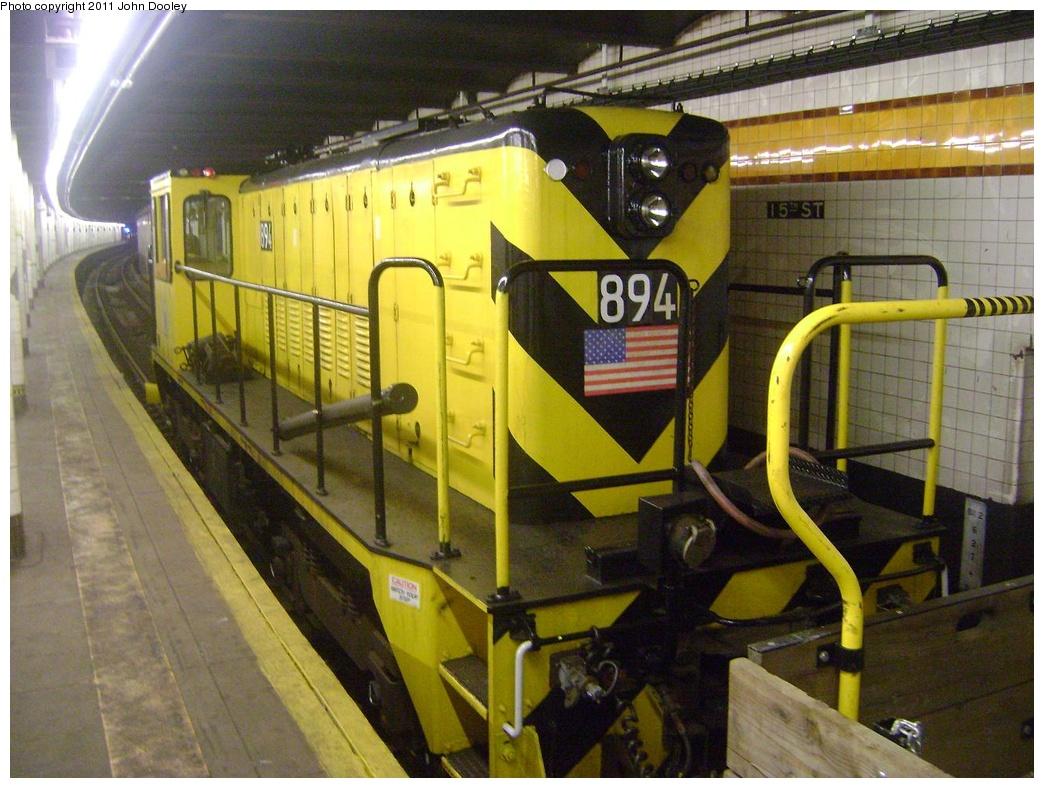 (331k, 1044x788)<br><b>Country:</b> United States<br><b>City:</b> New York<br><b>System:</b> New York City Transit<br><b>Line:</b> IND Crosstown Line<br><b>Location:</b> 15th Street/Prospect Park<br><b>Route:</b> Work Service<br><b>Car:</b> R-77 Locomotive 894 <br><b>Photo by:</b> John Dooley<br><b>Date:</b> 5/5/2011<br><b>Viewed (this week/total):</b> 1 / 1166