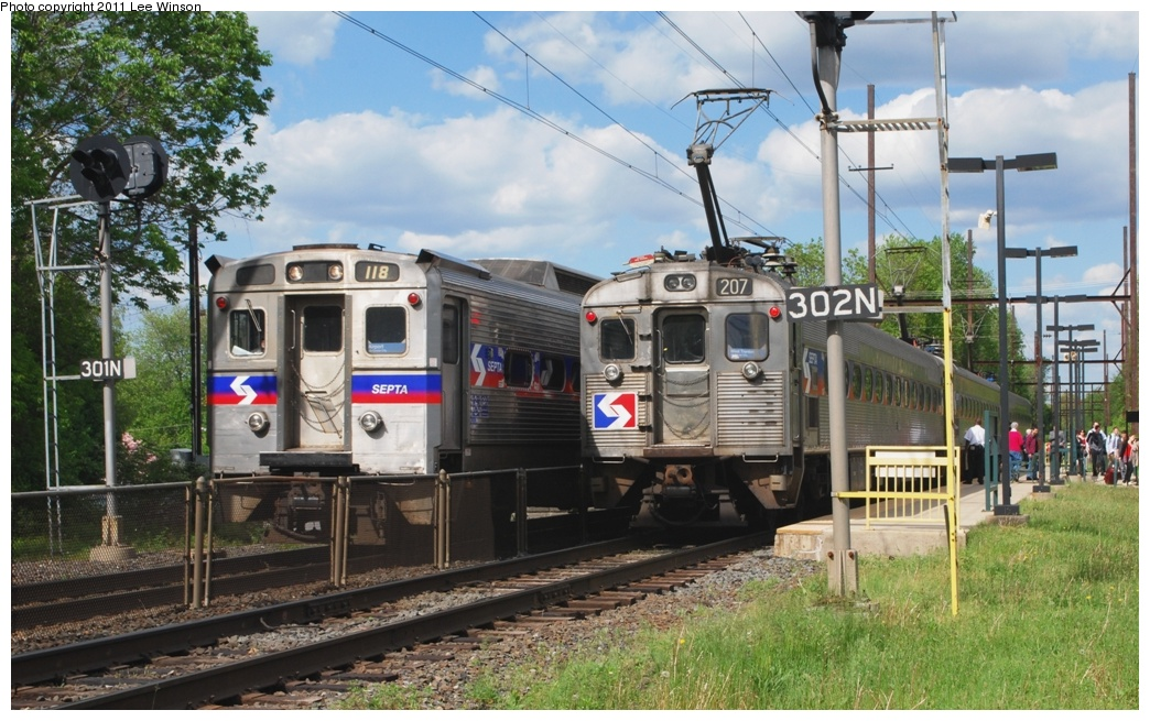 (327k, 1044x655)<br><b>Country:</b> United States<br><b>City:</b> Philadelphia, PA<br><b>System:</b> SEPTA Regional Rail<br><b>Line:</b> SEPTA R3<br><b>Location:</b> Yardley<br><b>Car:</b> SEPTA Silverliner IV (GE, 1974-75) 118/207 <br><b>Photo by:</b> Lee Winson<br><b>Date:</b> 5/5/2011<br><b>Notes:</b> West Trenton Line, Yardley Station.  Silverliner IV #118 inbound to Philadelphia, Silverliner II, #207 outbound to West Trenton.<br><b>Viewed (this week/total):</b> 0 / 699