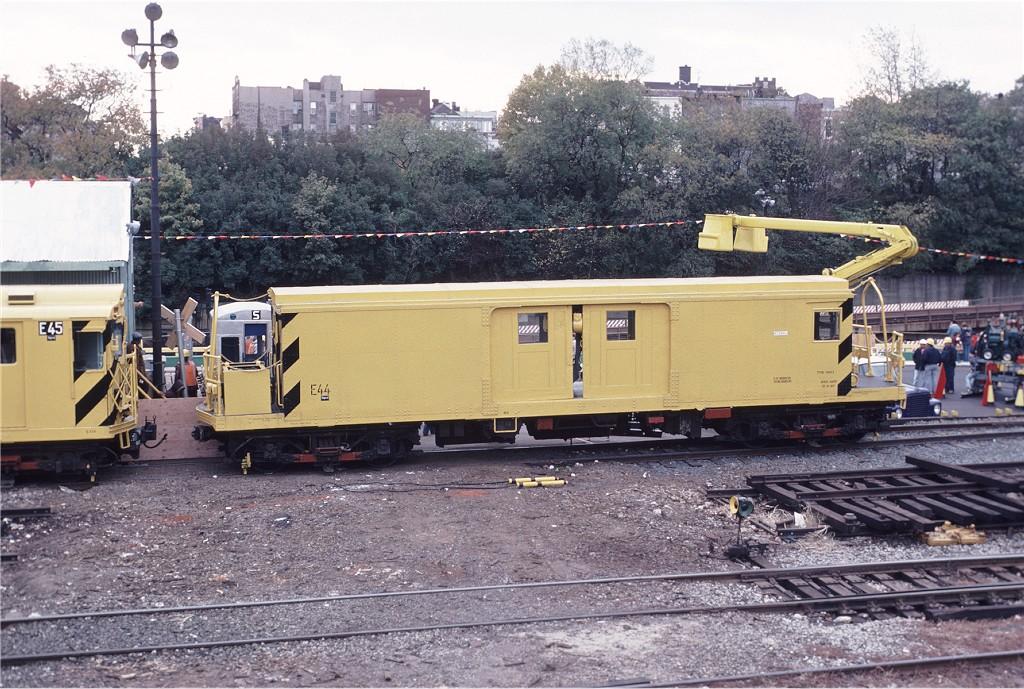 (255k, 1024x689)<br><b>Country:</b> United States<br><b>City:</b> New York<br><b>System:</b> New York City Transit<br><b>Location:</b> 36th Street Yard<br><b>Car:</b> BMT Signal Supply Car (Diff. Car Co., 1927) 44 <br><b>Photo by:</b> Doug Grotjahn<br><b>Collection of:</b> Joe Testagrose<br><b>Date:</b> 11/1/1980<br><b>Viewed (this week/total):</b> 1 / 2086