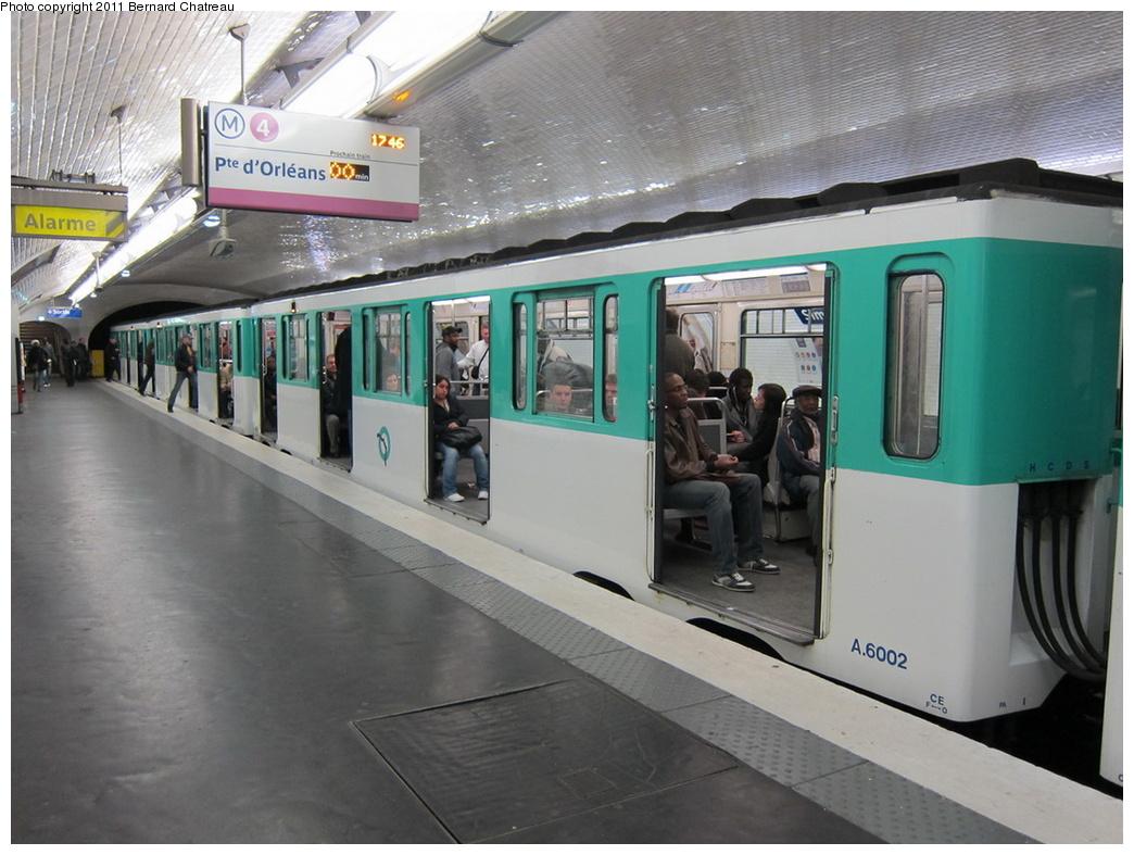 (298k, 1044x787)<br><b>Country:</b> France<br><b>City:</b> Paris<br><b>System:</b> RATP (Régie Autonome des Transports Parisiens)<br><b>Line:</b> Metro Ligne 4<br><b>Location:</b> Simplon<br><b>Car:</b> MP59 6002 <br><b>Photo by:</b> Bernard Chatreau<br><b>Date:</b> 4/8/2010<br><b>Viewed (this week/total):</b> 4 / 454