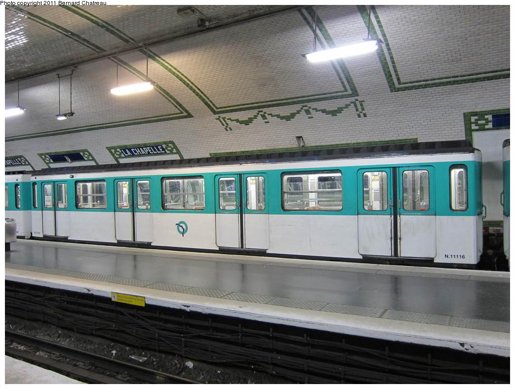 (317k, 1044x788)<br><b>Country:</b> France<br><b>City:</b> Paris<br><b>System:</b> RATP (Régie Autonome des Transports Parisiens)<br><b>Line:</b> Metro Ligne 12<br><b>Location:</b> Porte de la Chapelle<br><b>Car:</b> MF67 11116 <br><b>Photo by:</b> Bernard Chatreau<br><b>Date:</b> 5/5/2010<br><b>Viewed (this week/total):</b> 0 / 472