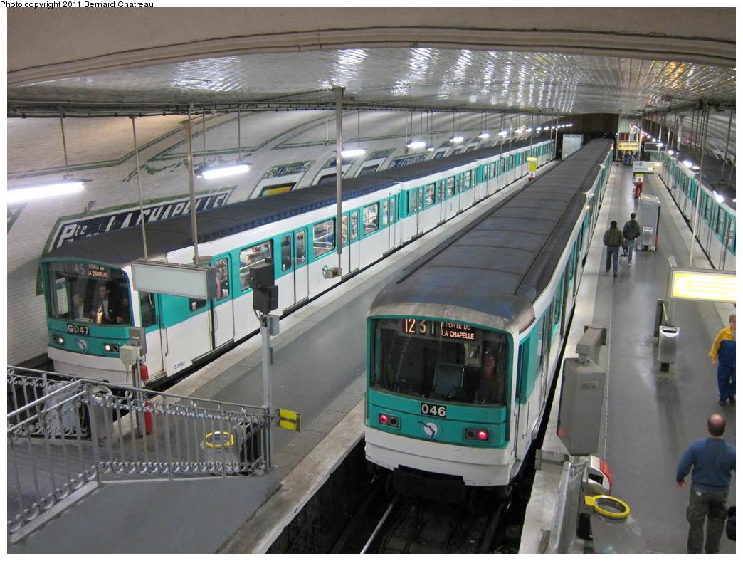 (334k, 1044x788)<br><b>Country:</b> France<br><b>City:</b> Paris<br><b>System:</b> RATP (Régie Autonome des Transports Parisiens)<br><b>Line:</b> Metro Ligne 12<br><b>Location:</b> Porte de la Chapelle<br><b>Car:</b> MF67 9148 <br><b>Photo by:</b> Bernard Chatreau<br><b>Date:</b> 5/5/2010<br><b>Viewed (this week/total):</b> 0 / 565