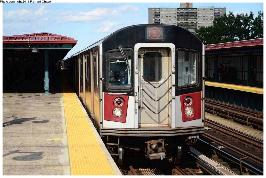 (351k, 1044x699)<br><b>Country:</b> United States<br><b>City:</b> New York<br><b>System:</b> New York City Transit<br><b>Line:</b> IRT Pelham Line<br><b>Location:</b> Morrison/Soundview Aves.<br><b>Route:</b> 6<br><b>Car:</b> R-142 or R-142A (Number Unknown)  <br><b>Photo by:</b> Richard Chase<br><b>Date:</b> 7/14/2011<br><b>Viewed (this week/total):</b> 3 / 1830