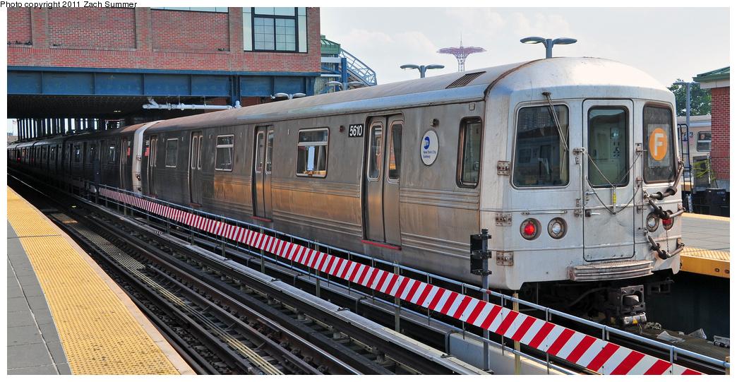 (362k, 1044x541)<br><b>Country:</b> United States<br><b>City:</b> New York<br><b>System:</b> New York City Transit<br><b>Location:</b> Coney Island/Stillwell Avenue<br><b>Route:</b> F<br><b>Car:</b> R-46 (Pullman-Standard, 1974-75) 5610 <br><b>Photo by:</b> Zach Summer<br><b>Date:</b> 7/22/2011<br><b>Viewed (this week/total):</b> 6 / 1316