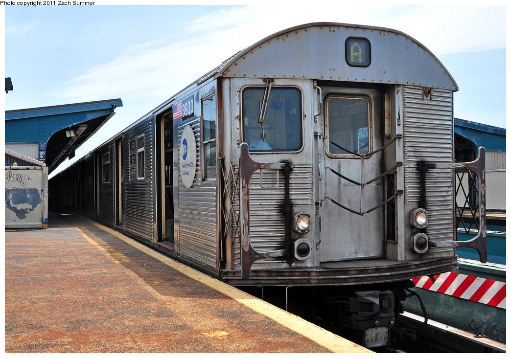 (428k, 1044x732)<br><b>Country:</b> United States<br><b>City:</b> New York<br><b>System:</b> New York City Transit<br><b>Line:</b> IND Fulton Street Line<br><b>Location:</b> 80th Street-Hudson Street<br><b>Route:</b> A<br><b>Car:</b> R-32 (Budd, 1964) 3933 <br><b>Photo by:</b> Zach Summer<br><b>Date:</b> 7/23/2011<br><b>Viewed (this week/total):</b> 0 / 1199