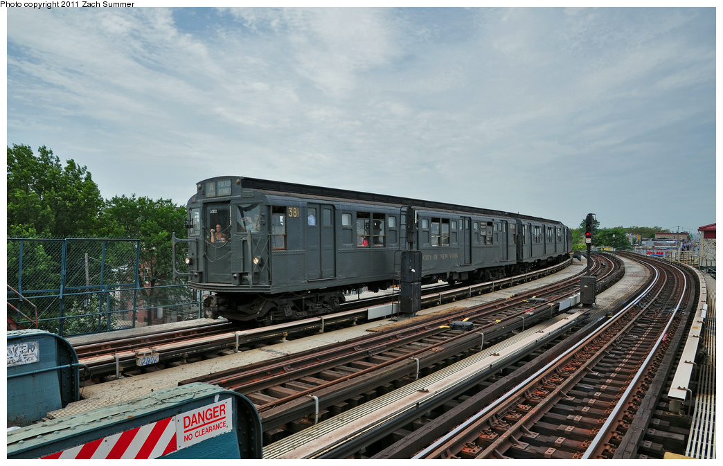 (372k, 1044x673)<br><b>Country:</b> United States<br><b>City:</b> New York<br><b>System:</b> New York City Transit<br><b>Line:</b> IND Fulton Street Line<br><b>Location:</b> 80th Street-Hudson Street<br><b>Route:</b> Transit Museum Nostalgia Train<br><b>Car:</b> R-1 (American Car & Foundry, 1930-1931) 381 <br><b>Photo by:</b> Zach Summer<br><b>Date:</b> 7/23/2011<br><b>Viewed (this week/total):</b> 0 / 1252