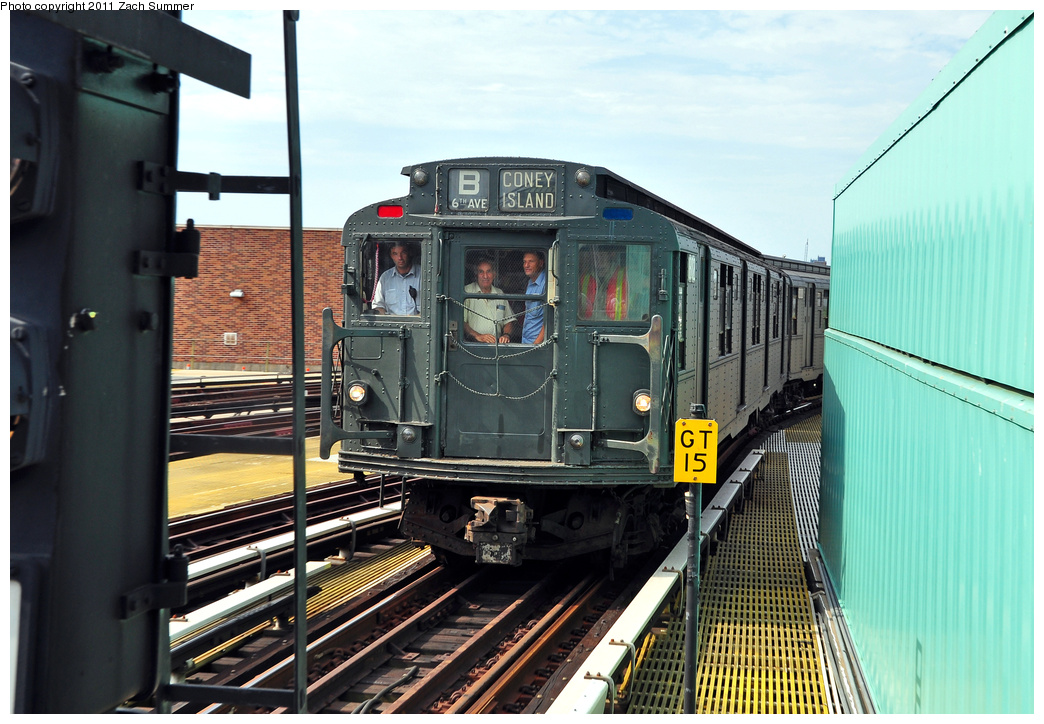 (376k, 1044x724)<br><b>Country:</b> United States<br><b>City:</b> New York<br><b>System:</b> New York City Transit<br><b>Location:</b> Coney Island/Stillwell Avenue<br><b>Route:</b> Transit Museum Nostalgia Train<br><b>Car:</b> R-9 (Pressed Steel, 1940) 1802 <br><b>Photo by:</b> Zach Summer<br><b>Date:</b> 7/23/2011<br><b>Viewed (this week/total):</b> 0 / 1893
