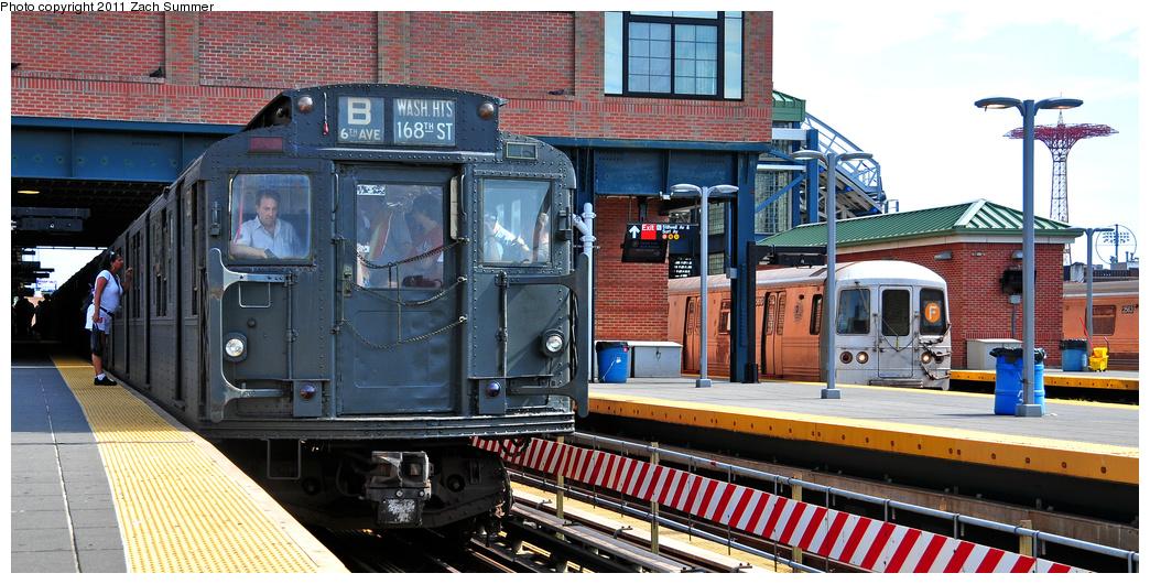 (373k, 1044x530)<br><b>Country:</b> United States<br><b>City:</b> New York<br><b>System:</b> New York City Transit<br><b>Location:</b> Coney Island/Stillwell Avenue<br><b>Route:</b> Transit Museum Nostalgia Train<br><b>Car:</b> R-1 (American Car & Foundry, 1930-1931) 381 <br><b>Photo by:</b> Zach Summer<br><b>Date:</b> 7/23/2011<br><b>Notes:</b> With R46 5610 on the F<br><b>Viewed (this week/total):</b> 0 / 1820