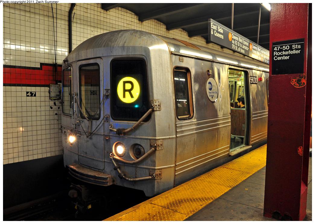 (434k, 1044x741)<br><b>Country:</b> United States<br><b>City:</b> New York<br><b>System:</b> New York City Transit<br><b>Line:</b> IND 6th Avenue Line<br><b>Location:</b> 47-50th Street/Rockefeller Center<br><b>Route:</b> R Reroute<br><b>Car:</b> R-46 (Pullman-Standard, 1974-75) 5630 <br><b>Photo by:</b> Zach Summer<br><b>Date:</b> 7/23/2011<br><b>Viewed (this week/total):</b> 1 / 1857