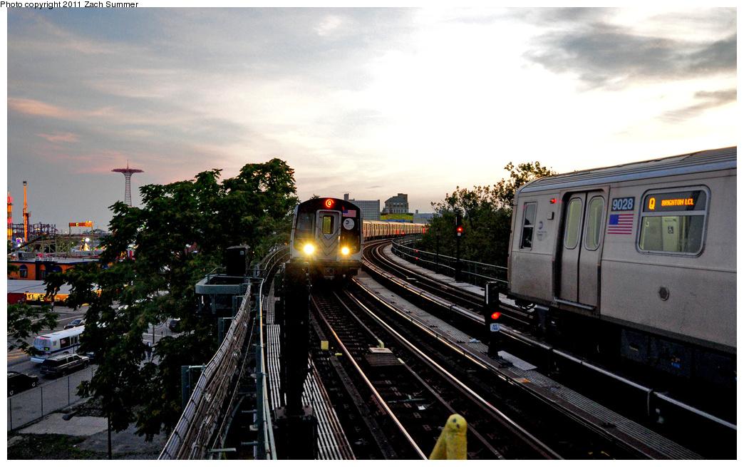 (347k, 1044x655)<br><b>Country:</b> United States<br><b>City:</b> New York<br><b>System:</b> New York City Transit<br><b>Line:</b> BMT Brighton Line<br><b>Location:</b> West 8th Street<br><b>Route:</b> Q<br><b>Car:</b> R-160A/R-160B Series (Number Unknown)  <br><b>Photo by:</b> Zach Summer<br><b>Date:</b> 7/23/2011<br><b>Viewed (this week/total):</b> 0 / 1781