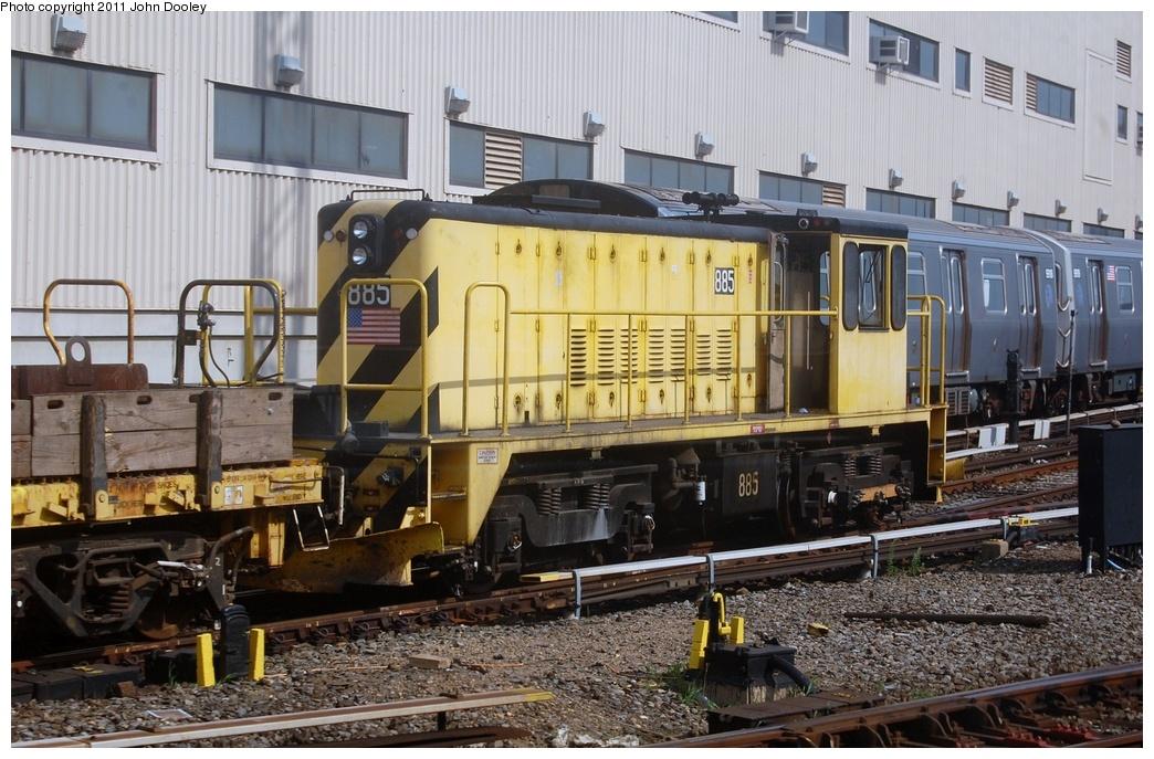 (349k, 1044x687)<br><b>Country:</b> United States<br><b>City:</b> New York<br><b>System:</b> New York City Transit<br><b>Location:</b> Coney Island Yard<br><b>Route:</b> Work Service<br><b>Car:</b> R-77 Locomotive 885 <br><b>Photo by:</b> John Dooley<br><b>Date:</b> 7/23/2011<br><b>Viewed (this week/total):</b> 1 / 795